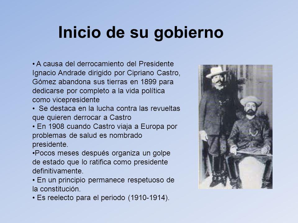 Inicio de su gobierno A causa del derrocamiento del Presidente Ignacio Andrade dirigido por Cipriano Castro,