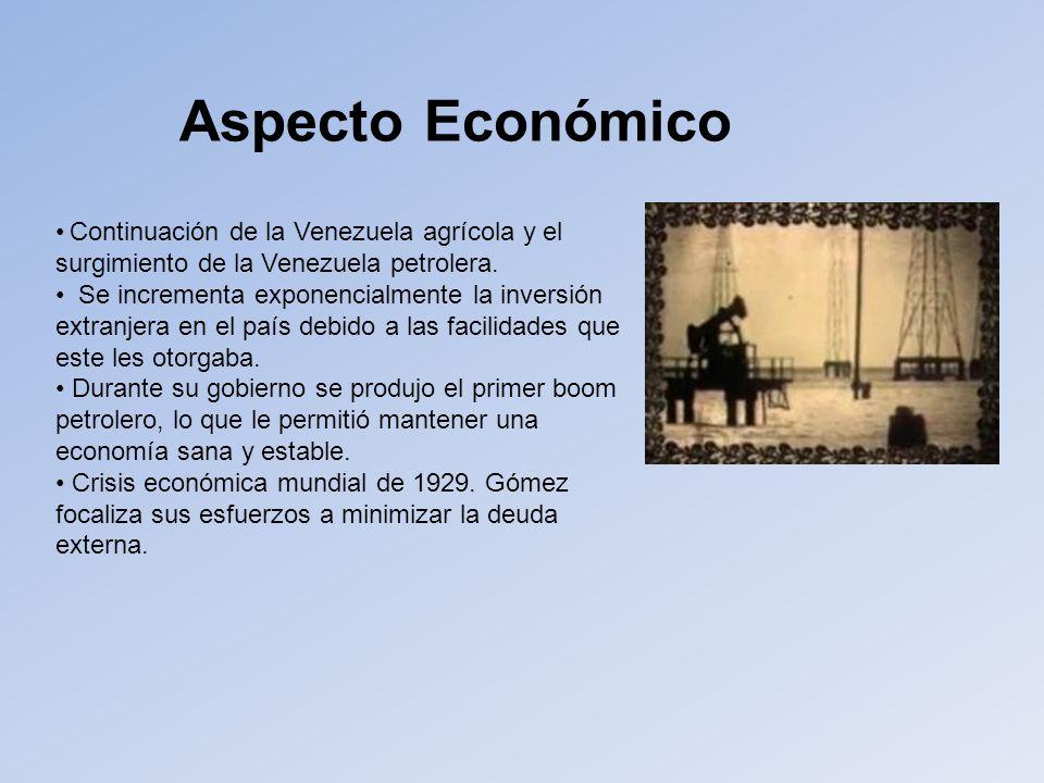 Aspecto Económico Continuación de la Venezuela agrícola y el surgimiento de la Venezuela petrolera.