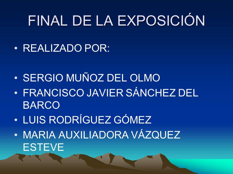 FINAL DE LA EXPOSICIÓN REALIZADO POR: SERGIO MUÑOZ DEL OLMO