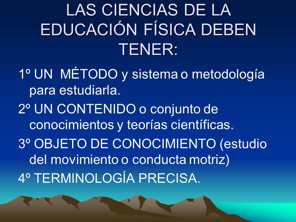 LAS CIENCIAS DE LA EDUCACIÓN FÍSICA DEBEN TENER: