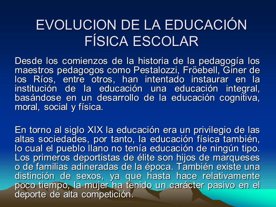 EVOLUCION DE LA EDUCACIÓN FÍSICA ESCOLAR