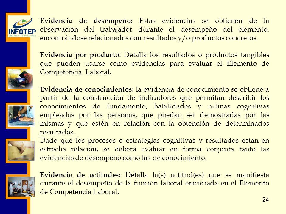 Evidencia de desempeño: Estas evidencias se obtienen de la observación del trabajador durante el desempeño del elemento, encontrándose relacionados con resultados y/o productos concretos.