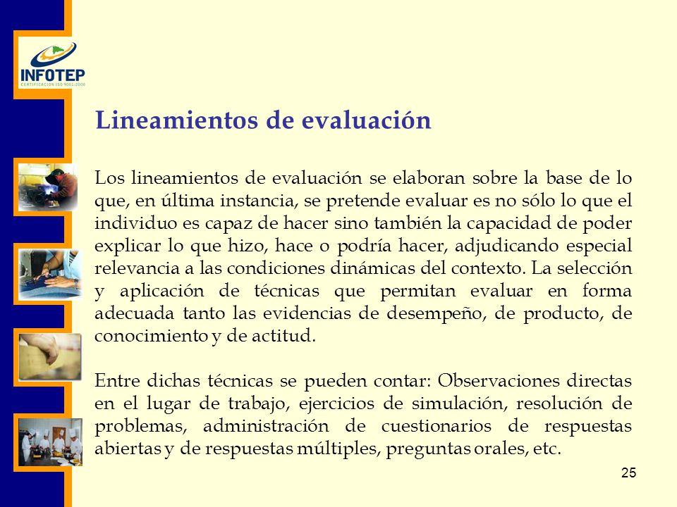 Lineamientos de evaluación
