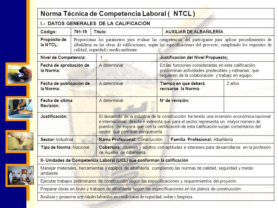 Norma Técnica de Competencia Laboral ( NTCL )