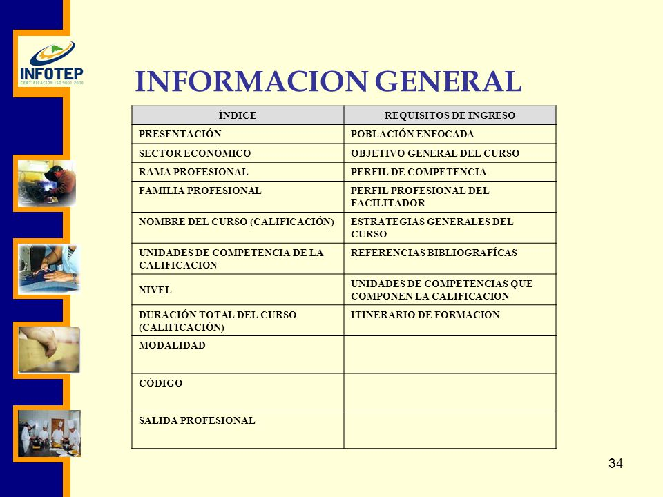 INFORMACION GENERAL ÍNDICE REQUISITOS DE INGRESO PRESENTACIÓN