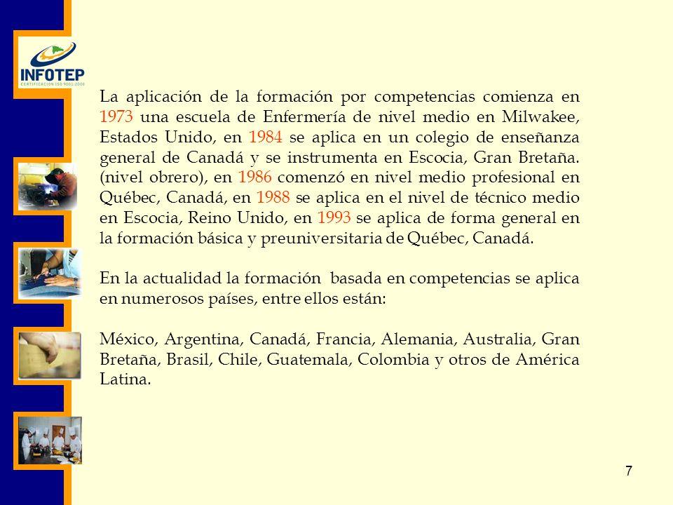 La aplicación de la formación por competencias comienza en 1973 una escuela de Enfermería de nivel medio en Milwakee, Estados Unido, en 1984 se aplica en un colegio de enseñanza general de Canadá y se instrumenta en Escocia, Gran Bretaña. (nivel obrero), en 1986 comenzó en nivel medio profesional en Québec, Canadá, en 1988 se aplica en el nivel de técnico medio en Escocia, Reino Unido, en 1993 se aplica de forma general en la formación básica y preuniversitaria de Québec, Canadá.