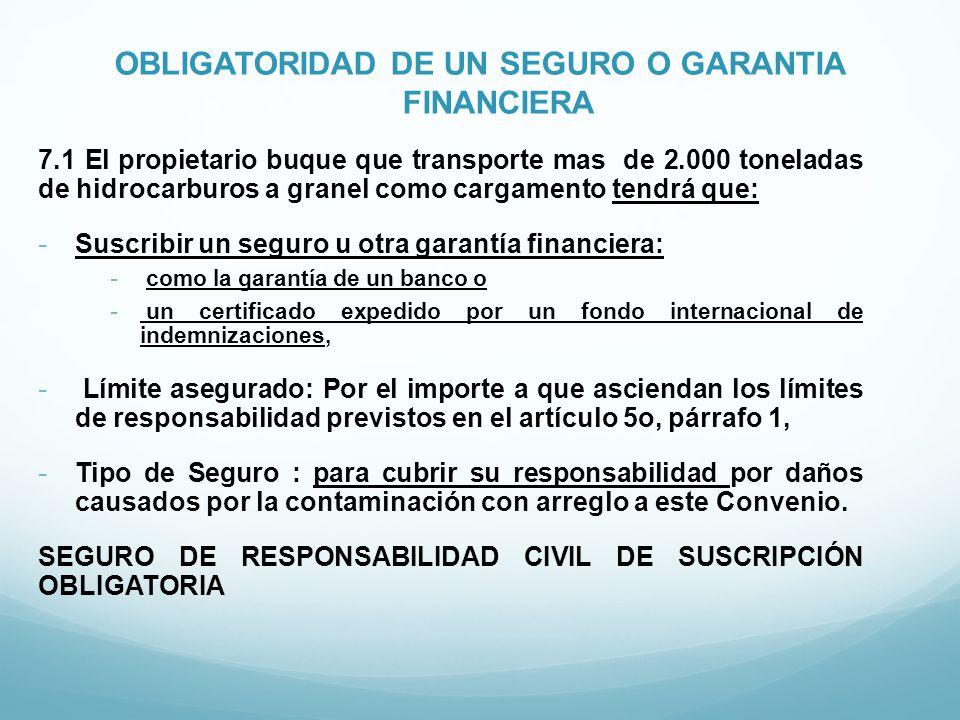 OBLIGATORIDAD DE UN SEGURO O GARANTIA FINANCIERA