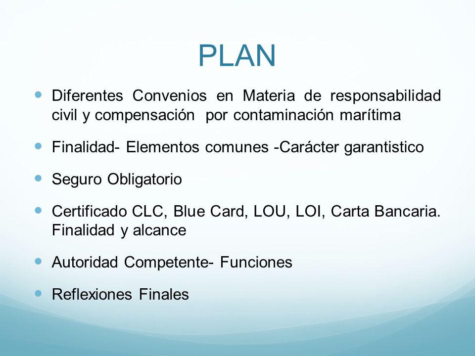 PLAN Diferentes Convenios en Materia de responsabilidad civil y compensación por contaminación marítima.