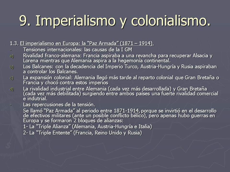 9. Imperialismo y colonialismo.