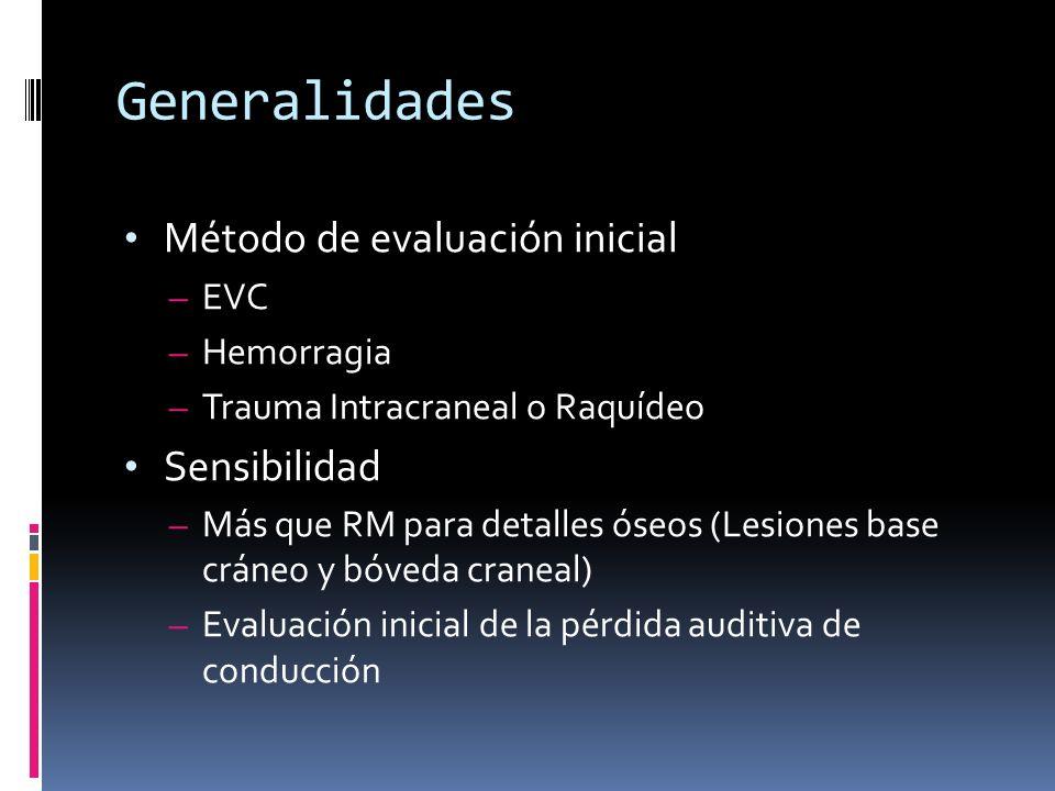 Generalidades Método de evaluación inicial Sensibilidad EVC Hemorragia