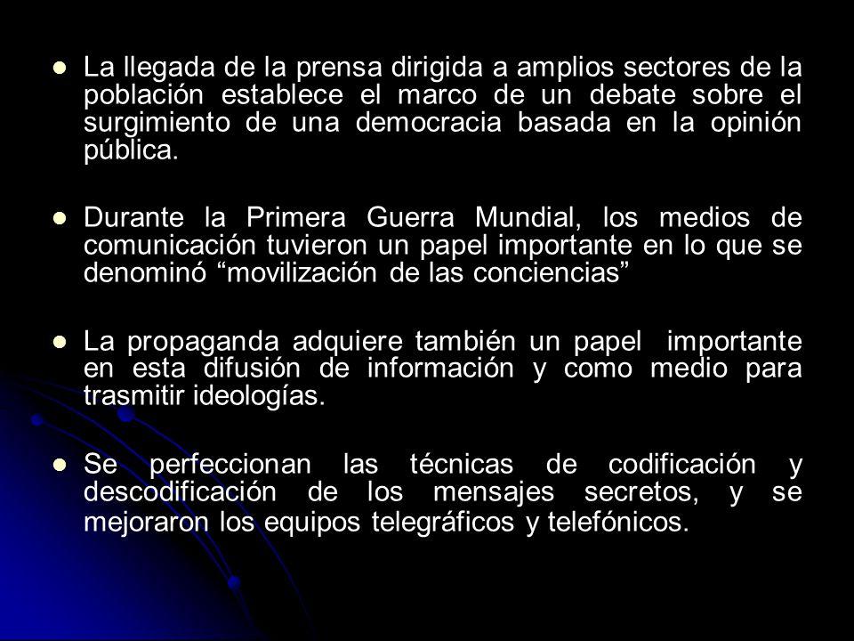 La llegada de la prensa dirigida a amplios sectores de la población establece el marco de un debate sobre el surgimiento de una democracia basada en la opinión pública.