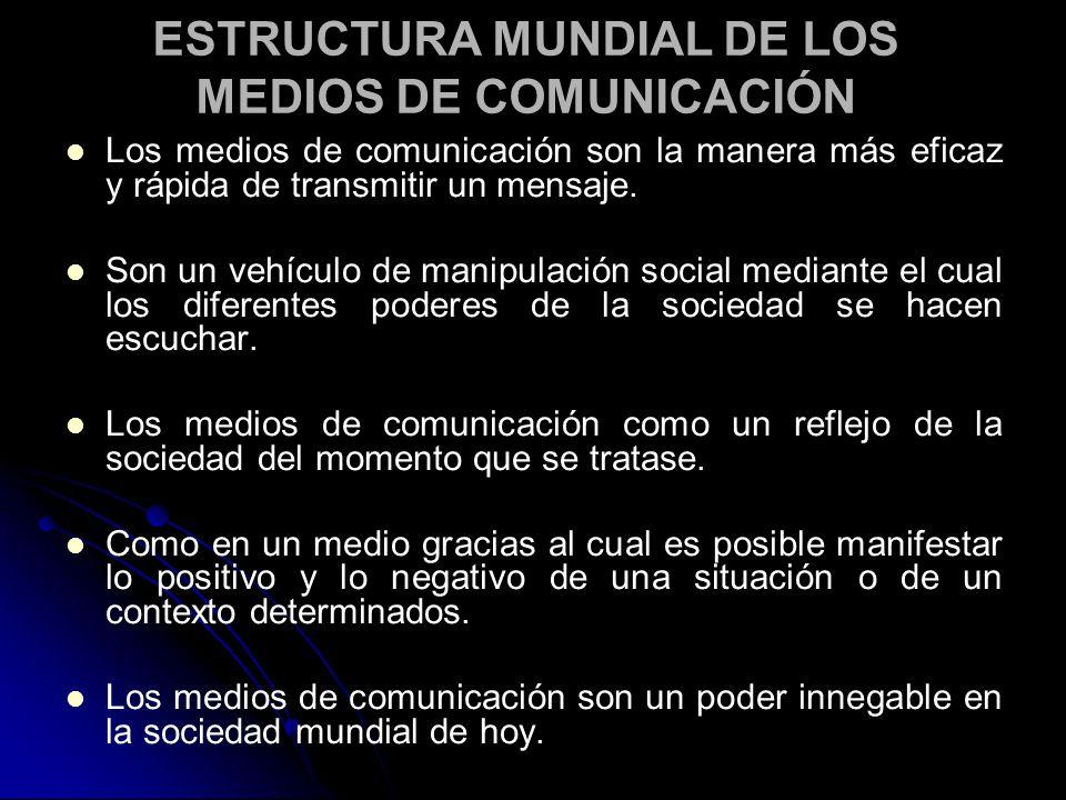 ESTRUCTURA MUNDIAL DE LOS MEDIOS DE COMUNICACIÓN