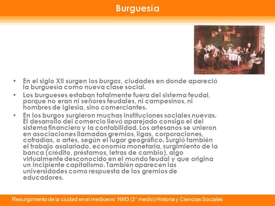 Burguesía En el siglo XII surgen los burgos, ciudades en donde apareció la burguesía como nueva clase social.