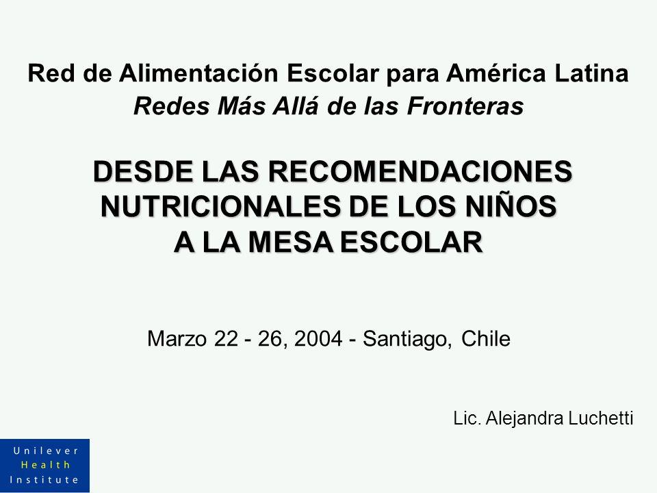 Red de Alimentación Escolar para América Latina Redes Más Allá de las Fronteras DESDE LAS RECOMENDACIONES NUTRICIONALES DE LOS NIÑOS A LA MESA ESCOLAR Marzo 22 - 26, 2004 - Santiago, Chile Lic.