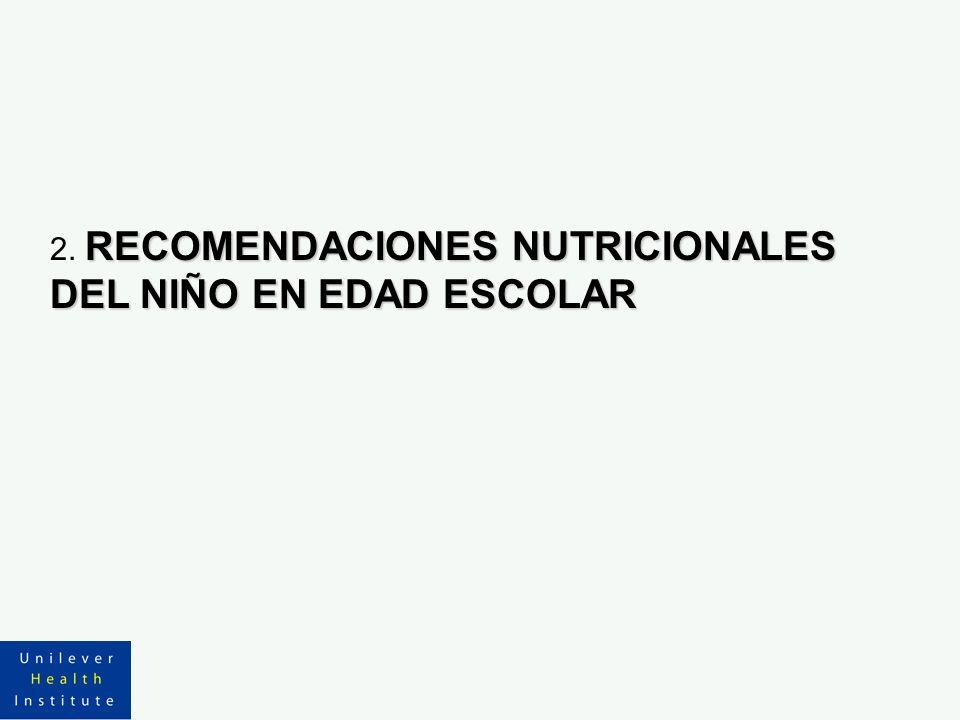 2. RECOMENDACIONES NUTRICIONALES DEL NIÑO EN EDAD ESCOLAR