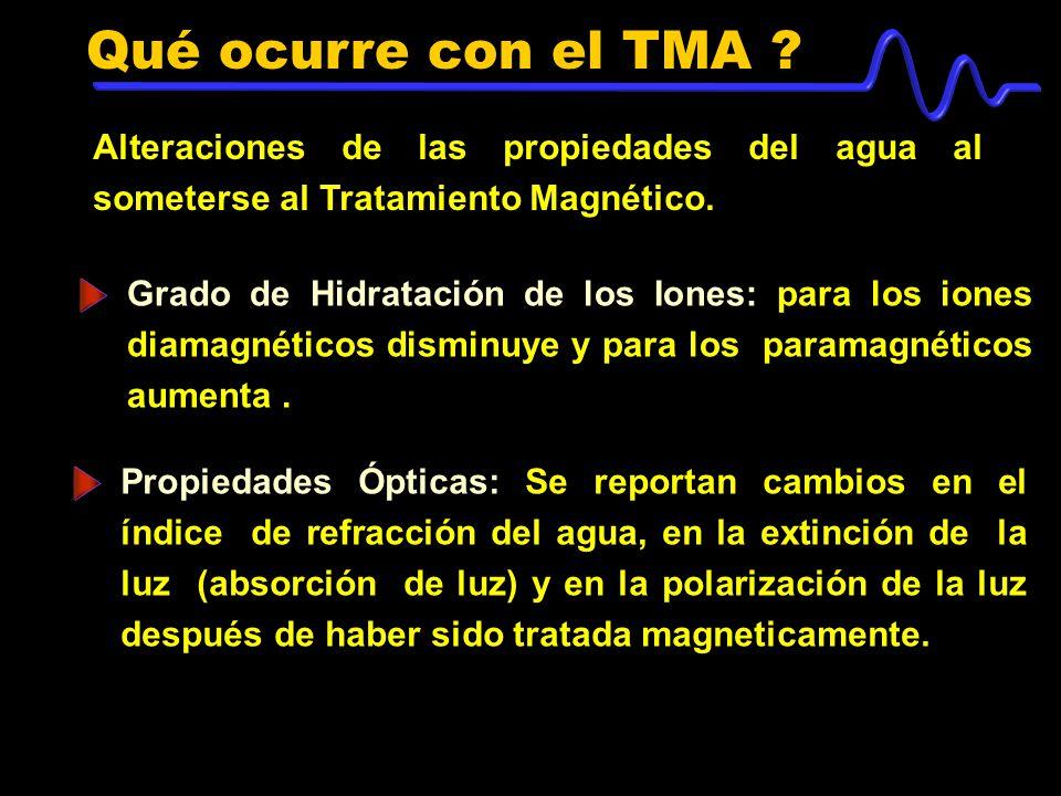 Qué ocurre con el TMA Alteraciones de las propiedades del agua al someterse al Tratamiento Magnético.