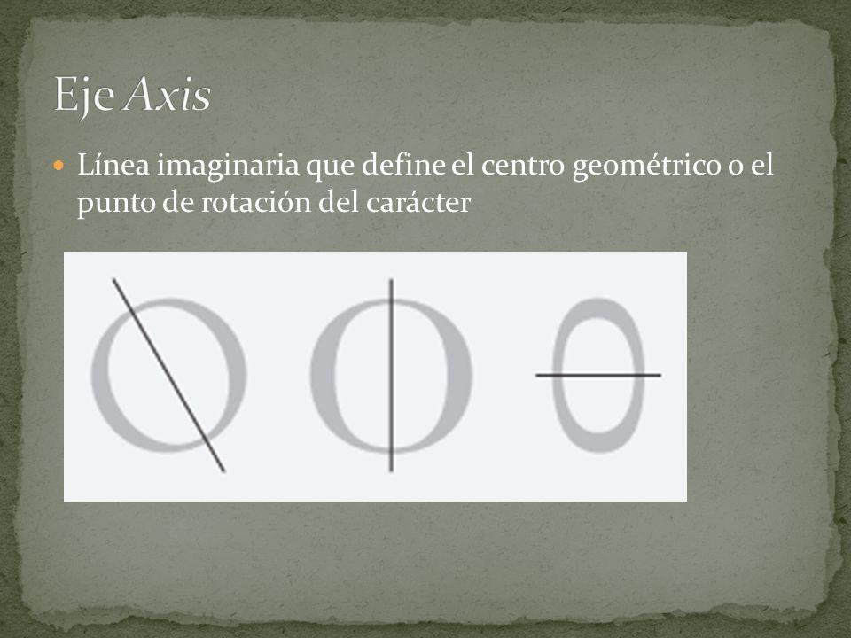 Eje Axis Línea imaginaria que define el centro geométrico o el punto de rotación del carácter