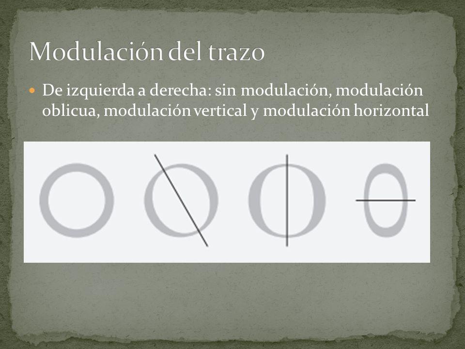 Modulación del trazo De izquierda a derecha: sin modulación, modulación oblicua, modulación vertical y modulación horizontal.