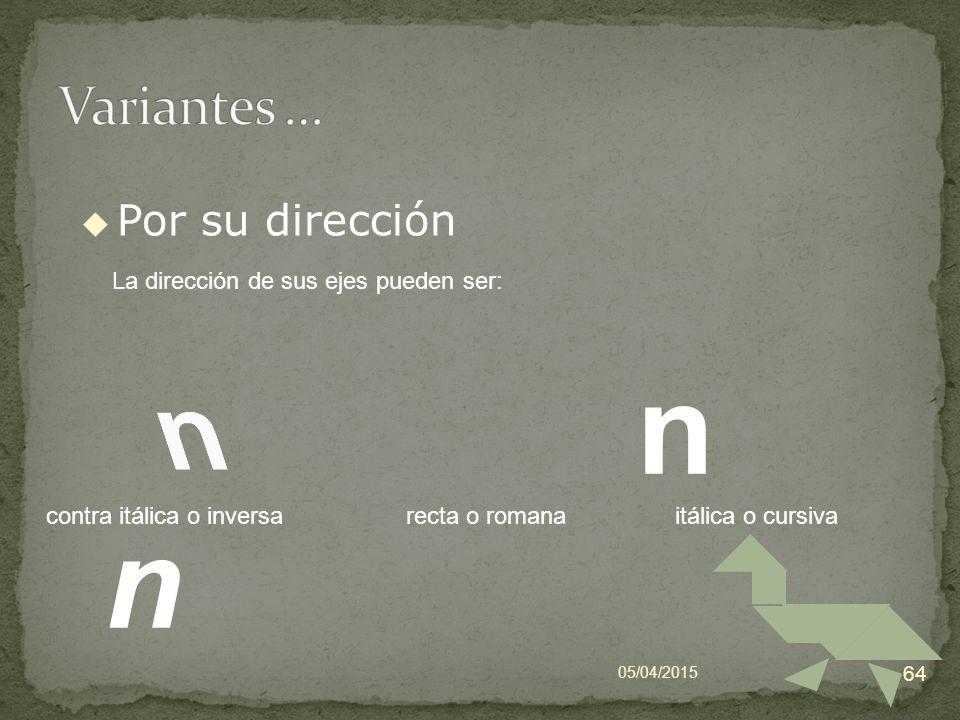 n n Variantes … Por su dirección La dirección de sus ejes pueden ser: