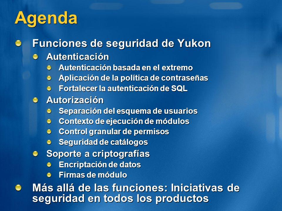 Agenda Funciones de seguridad de Yukon