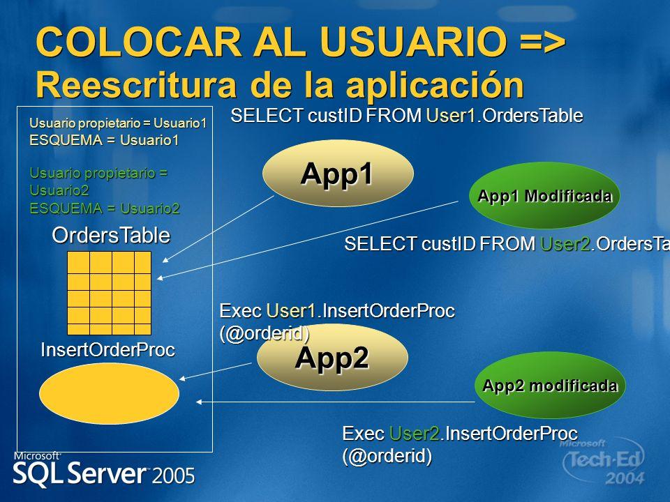 COLOCAR AL USUARIO => Reescritura de la aplicación