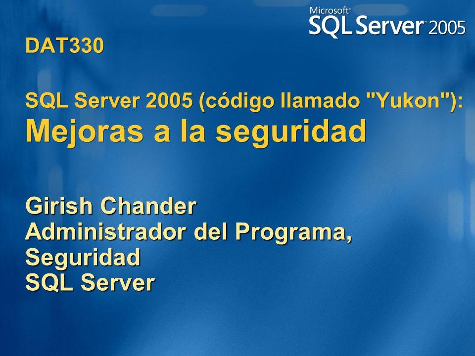 Girish Chander Administrador del Programa, Seguridad SQL Server