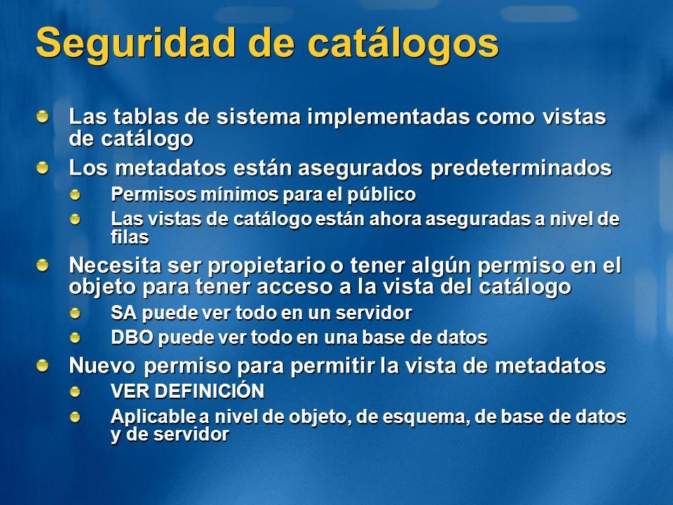 Seguridad de catálogos