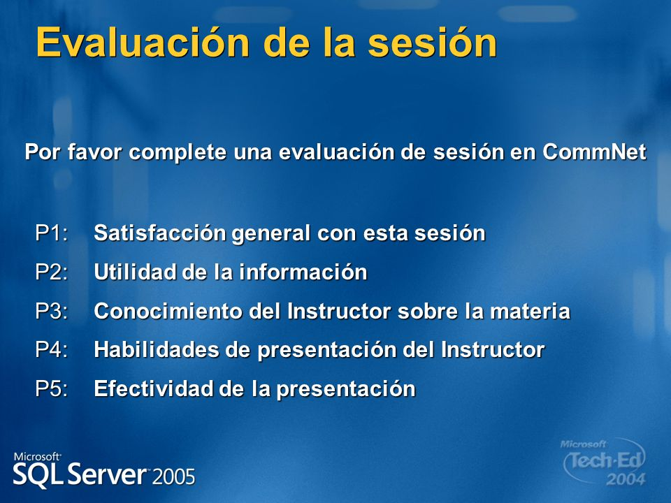 Por favor complete una evaluación de sesión en CommNet