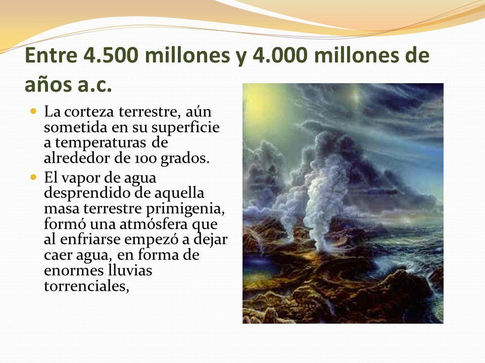 Entre 4.500 millones y 4.000 millones de años a.c.