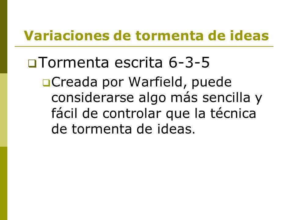 Variaciones de tormenta de ideas