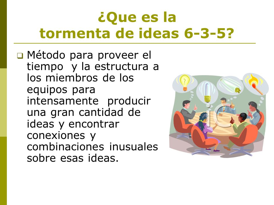 ¿Que es la tormenta de ideas 6-3-5