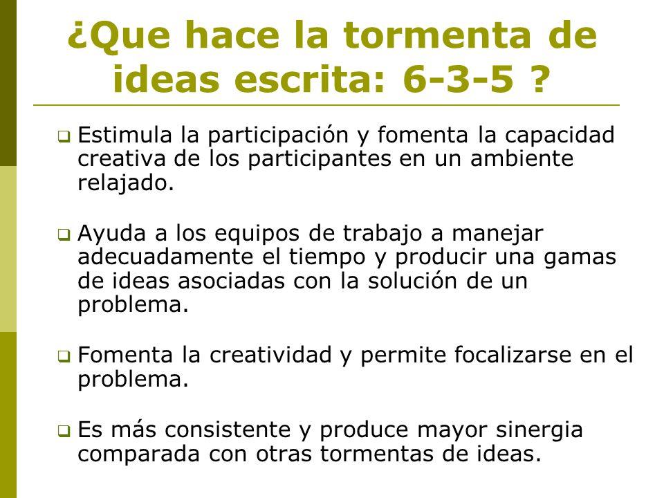 ¿Que hace la tormenta de ideas escrita: 6-3-5