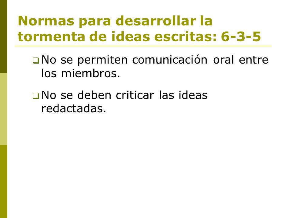 Normas para desarrollar la tormenta de ideas escritas: 6-3-5