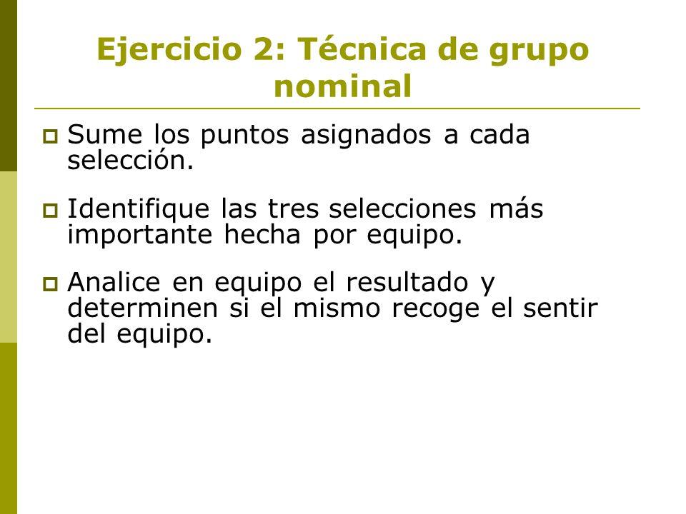 Ejercicio 2: Técnica de grupo nominal