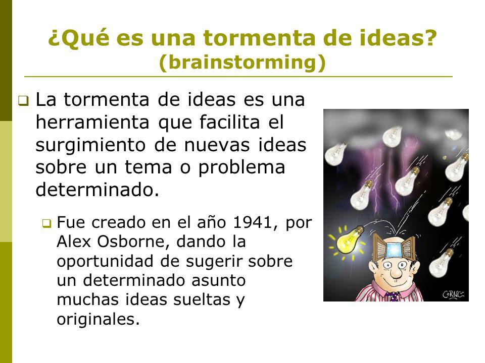 ¿Qué es una tormenta de ideas (brainstorming)