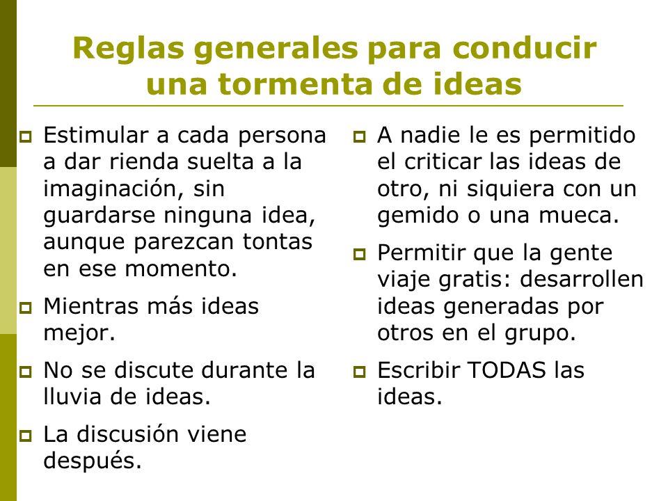 Reglas generales para conducir una tormenta de ideas
