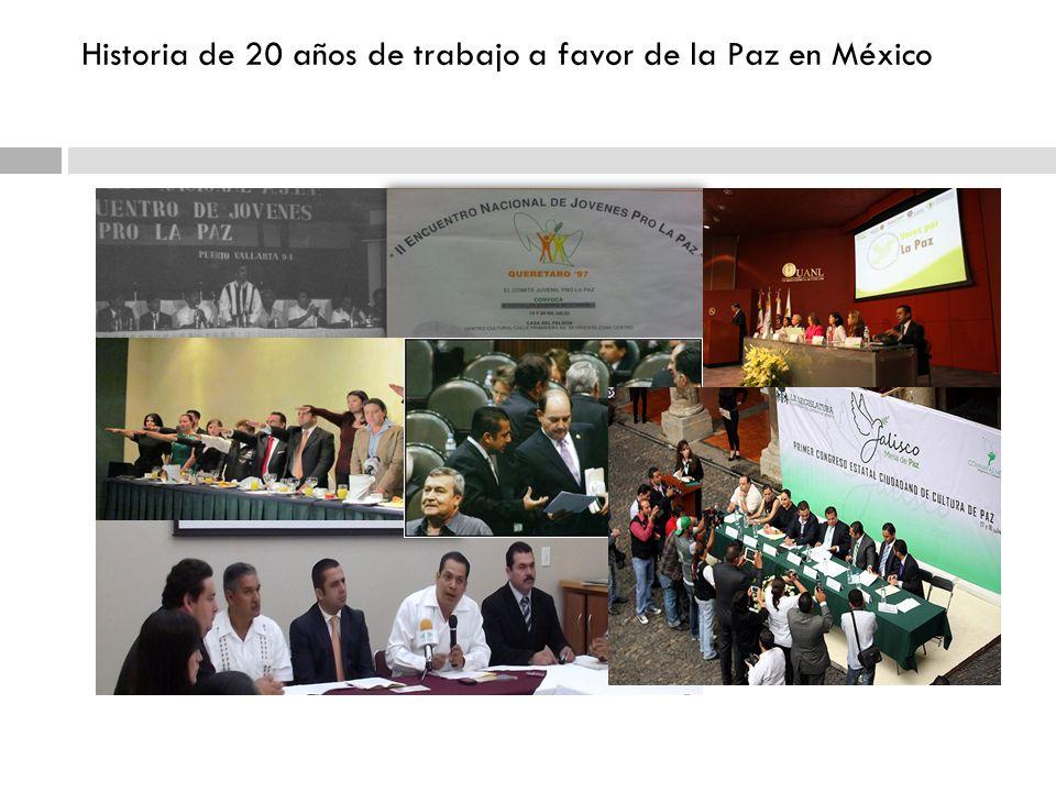 Historia de 20 años de trabajo a favor de la Paz en México