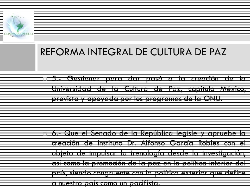 REFORMA INTEGRAL DE CULTURA DE PAZ