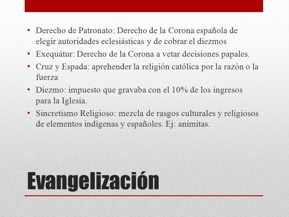 Derecho de Patronato: Derecho de la Corona española de elegir autoridades eclesiásticas y de cobrar el diezmos