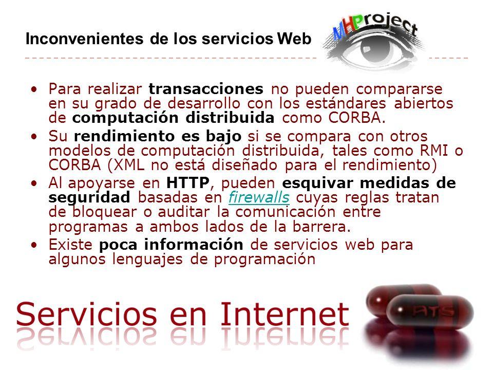 Inconvenientes de los servicios Web