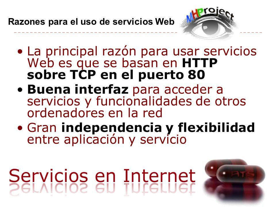 Gran independencia y flexibilidad entre aplicación y servicio