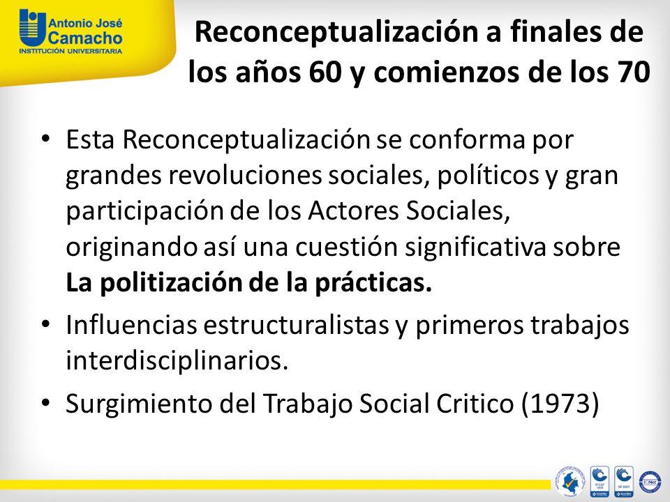 Reconceptualización a finales de los años 60 y comienzos de los 70