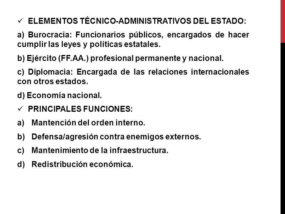 ELEMENTOS TÉCNICO-ADMINISTRATIVOS DEL ESTADO: