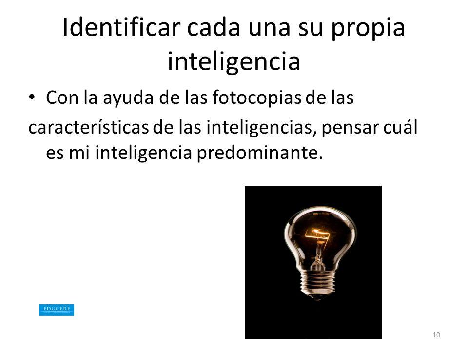 Identificar cada una su propia inteligencia