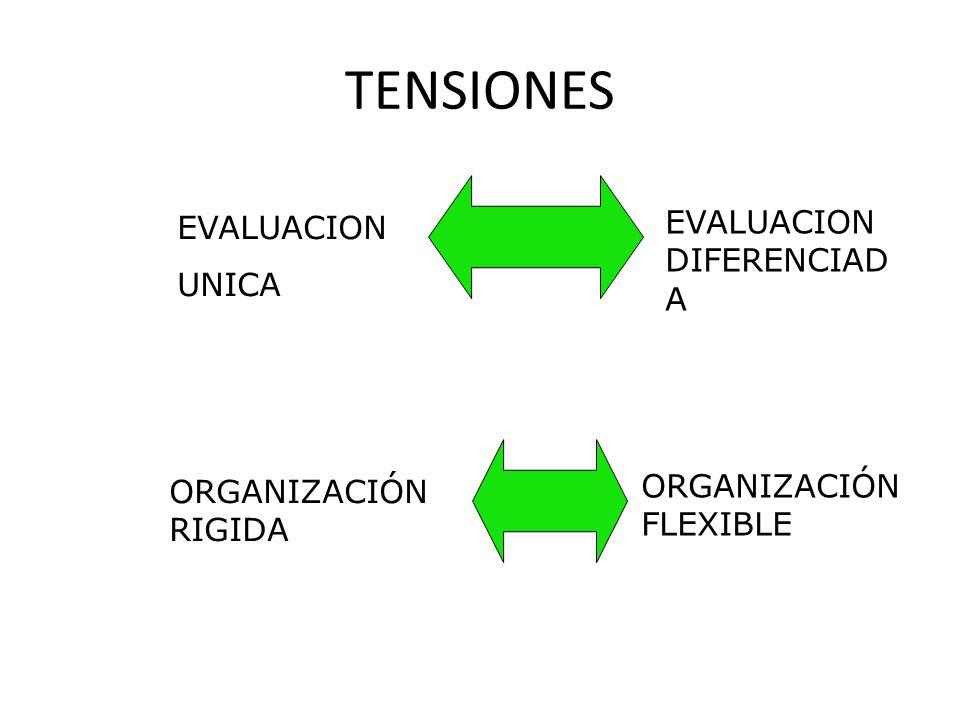 TENSIONES EVALUACION DIFERENCIADA EVALUACION UNICA
