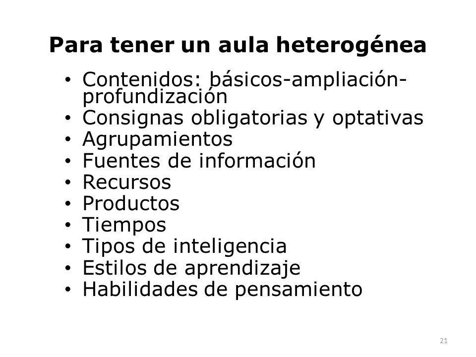 Para tener un aula heterogénea