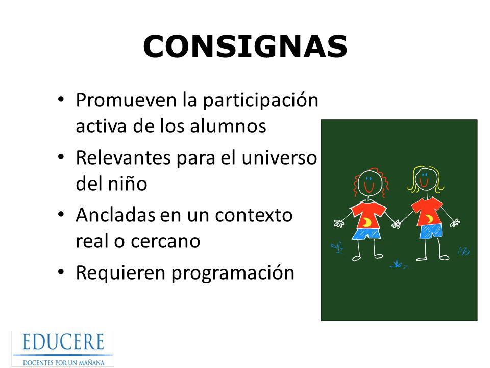 CONSIGNAS Promueven la participación activa de los alumnos