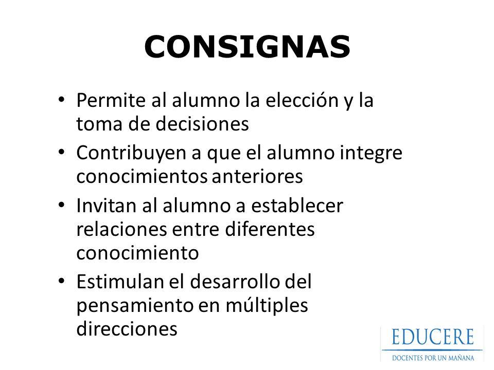CONSIGNAS Permite al alumno la elección y la toma de decisiones