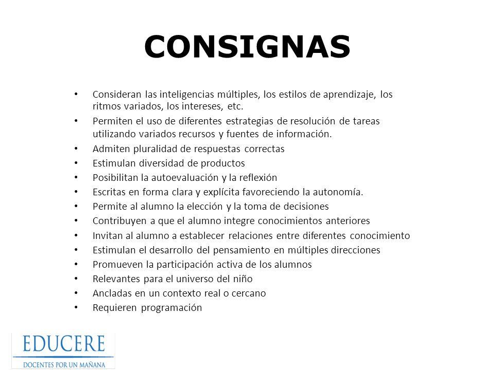 CONSIGNAS Consideran las inteligencias múltiples, los estilos de aprendizaje, los ritmos variados, los intereses, etc.