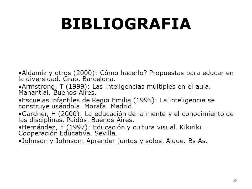 BIBLIOGRAFIA Aldamiz y otros (2000): Cómo hacerlo Propuestas para educar en la diversidad. Grao. Barcelona.